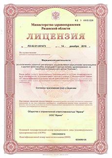Лицензия, 1 страница